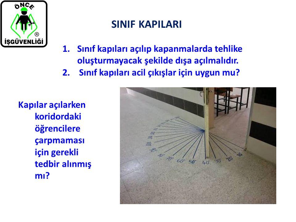 SINIF KAPILARI Sınıf kapıları açılıp kapanmalarda tehlike oluşturmayacak şekilde dışa açılmalıdır. Sınıf kapıları acil çıkışlar için uygun mu