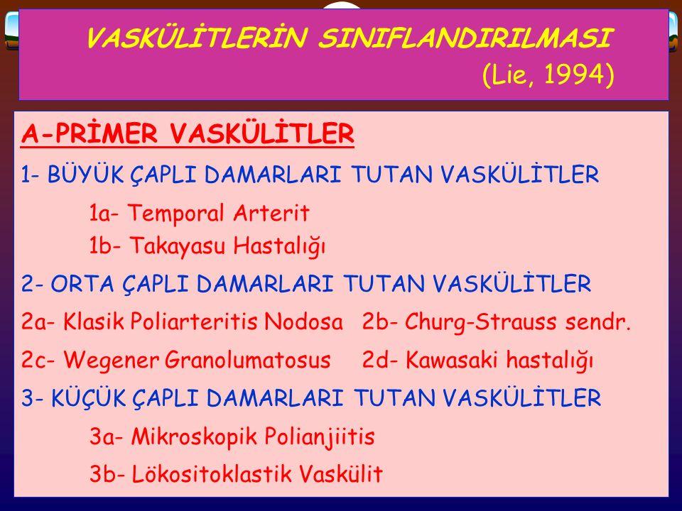 VASKÜLİTLERİN SINIFLANDIRILMASI (Lie, 1994)