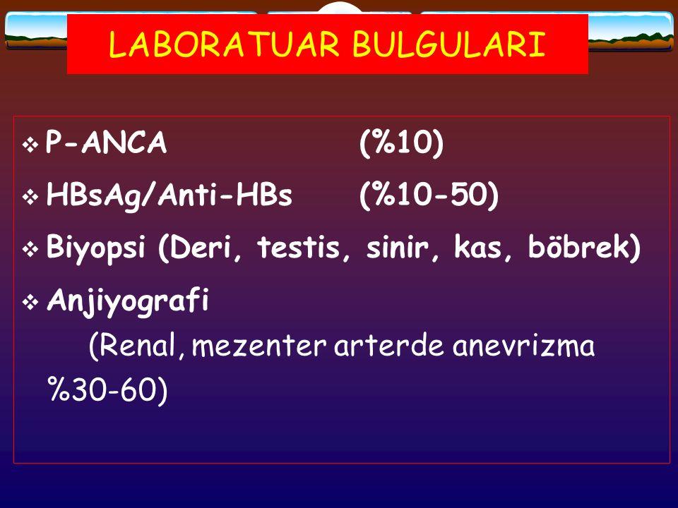 LABORATUAR BULGULARI P-ANCA (%10) HBsAg/Anti-HBs (%10-50)
