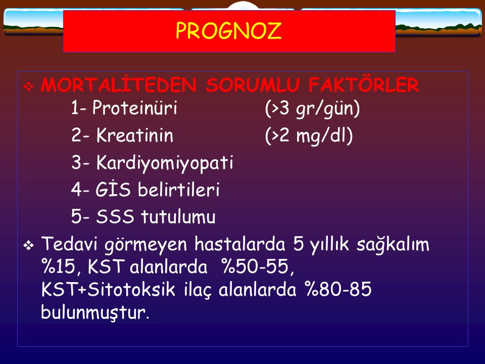 PROGNOZ MORTALİTEDEN SORUMLU FAKTÖRLER 1- Proteinüri (>3 gr/gün)