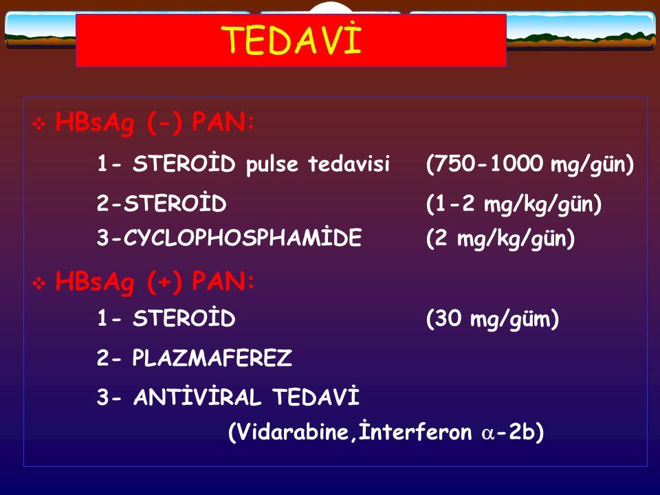 TEDAVİ HBsAg (-) PAN: HBsAg (+) PAN: 1- STEROİD (30 mg/güm)