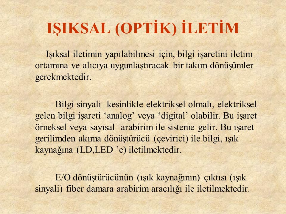 IŞIKSAL (OPTİK) İLETİM