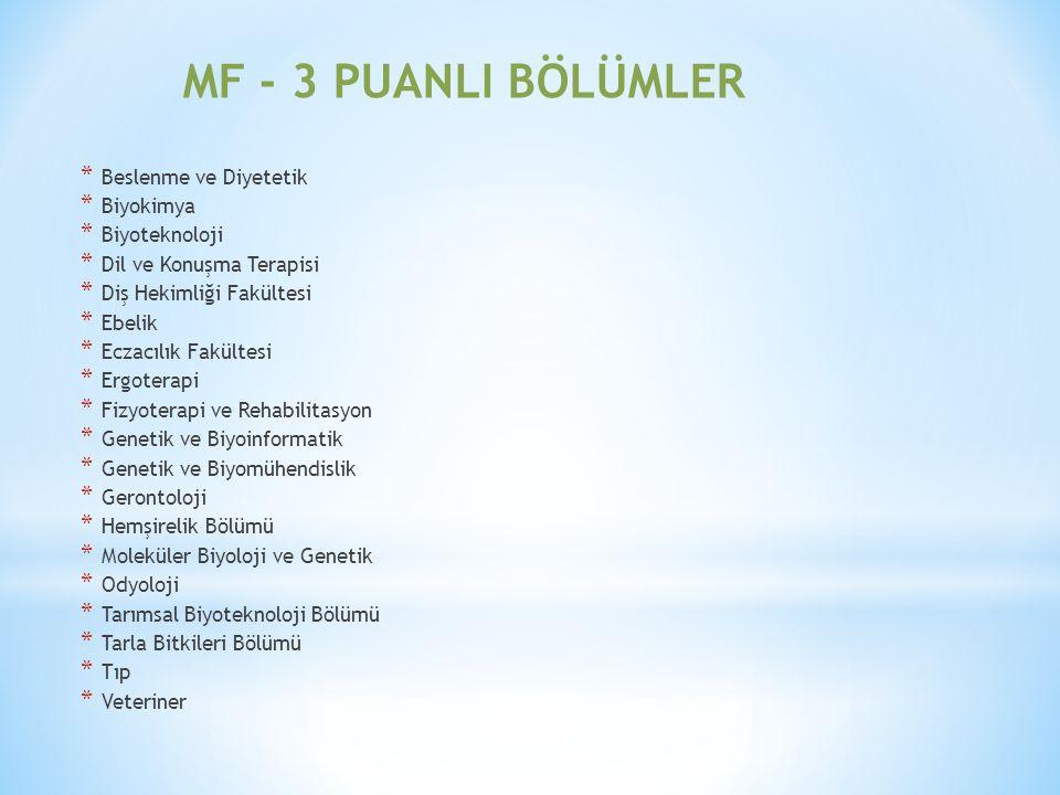 MF - 3 PUANLI BÖLÜMLER Beslenme ve Diyetetik Biyokimya Biyoteknoloji