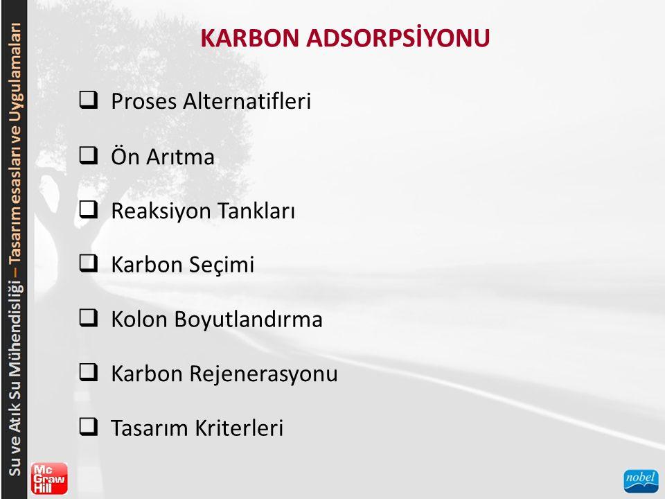 KARBON ADSORPSİYONU Proses Alternatifleri Ön Arıtma Reaksiyon Tankları