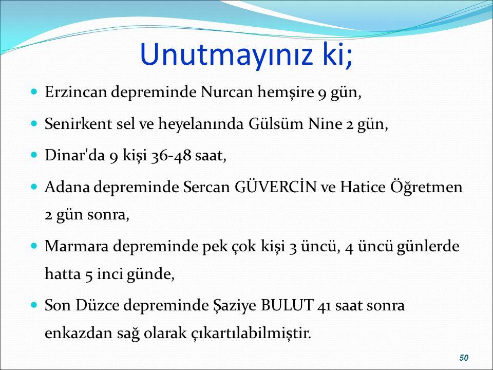 Unutmayınız ki; Erzincan depreminde Nurcan hemşire 9 gün,