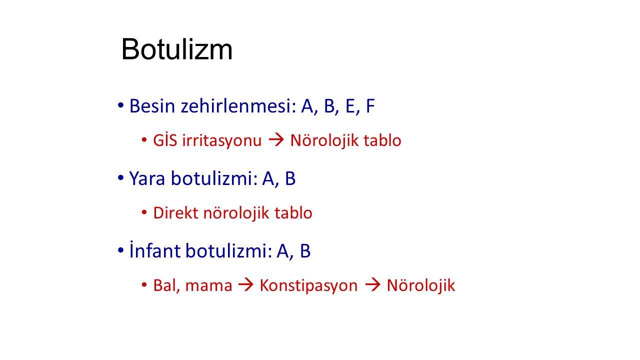 Botulizm Besin zehirlenmesi: A, B, E, F Yara botulizmi: A, B