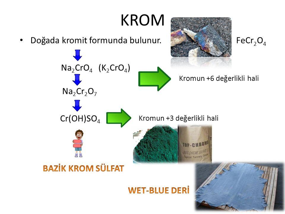 KROM Doğada kromit formunda bulunur. FeCr2O4 Na2CrO4 (K2CrO4) Na2Cr2O7