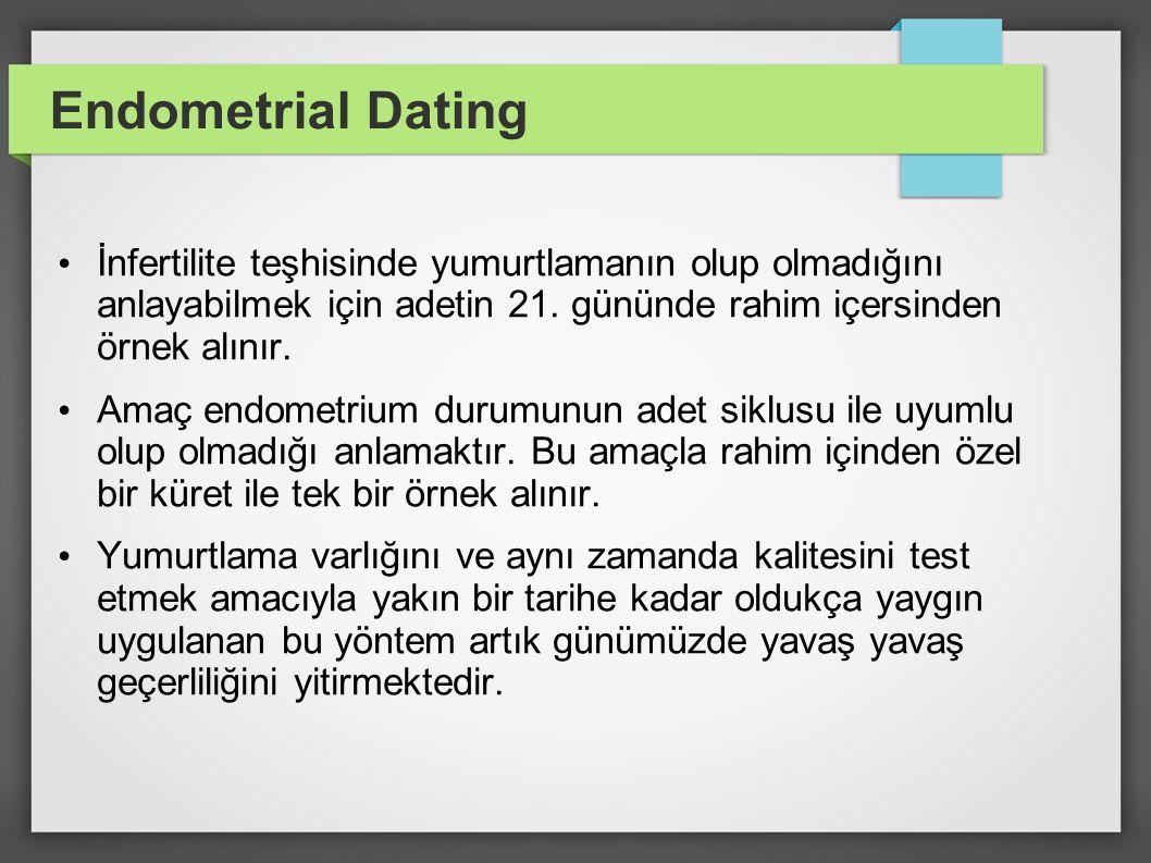 Endometrial Dating İnfertilite teşhisinde yumurtlamanın olup olmadığını anlayabilmek için adetin 21. gününde rahim içersinden örnek alınır.
