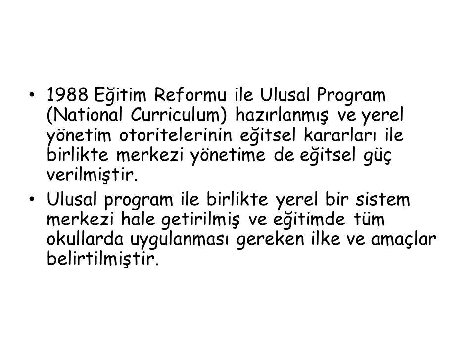 1988 Eğitim Reformu ile Ulusal Program (National Curriculum) hazırlanmış ve yerel yönetim otoritelerinin eğitsel kararları ile birlikte merkezi yönetime de eğitsel güç verilmiştir.