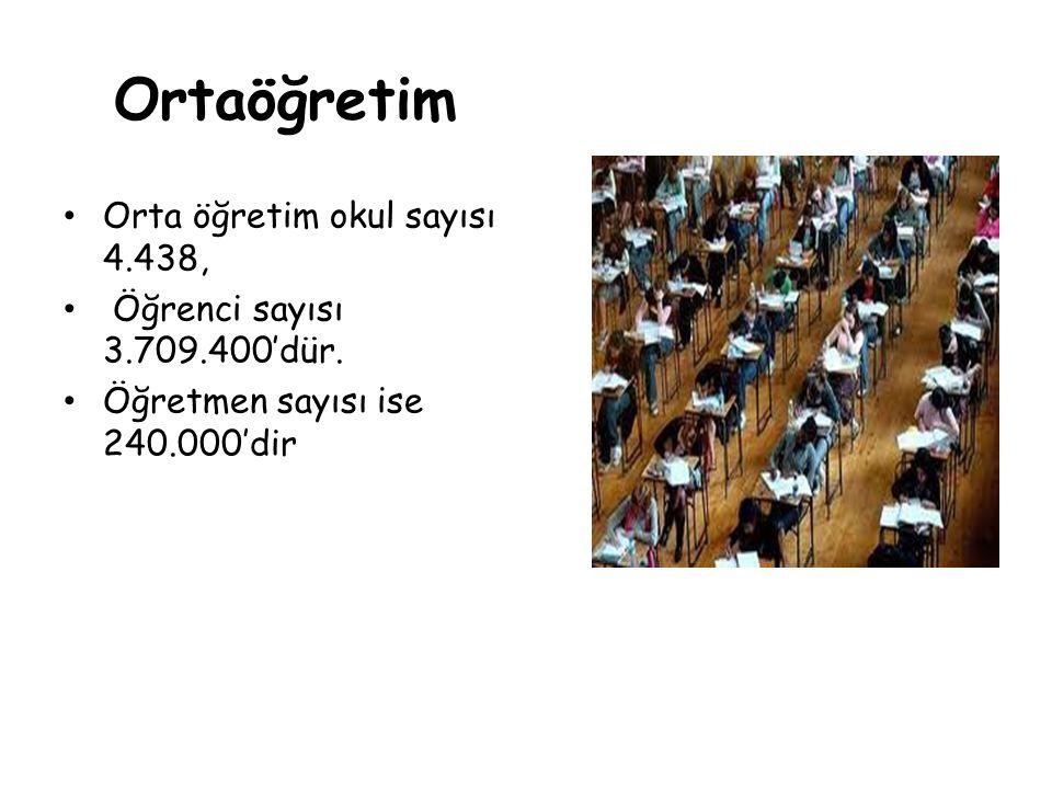 Ortaöğretim Orta öğretim okul sayısı 4.438,
