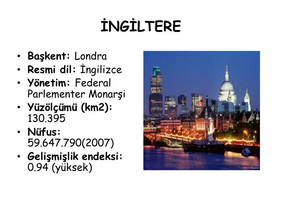 İNGİLTERE Başkent: Londra Resmi dil: İngilizce