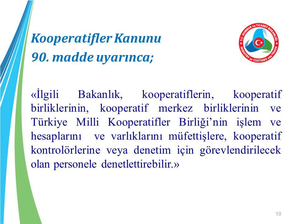 Kooperatifler Kanunu 90. madde uyarınca;
