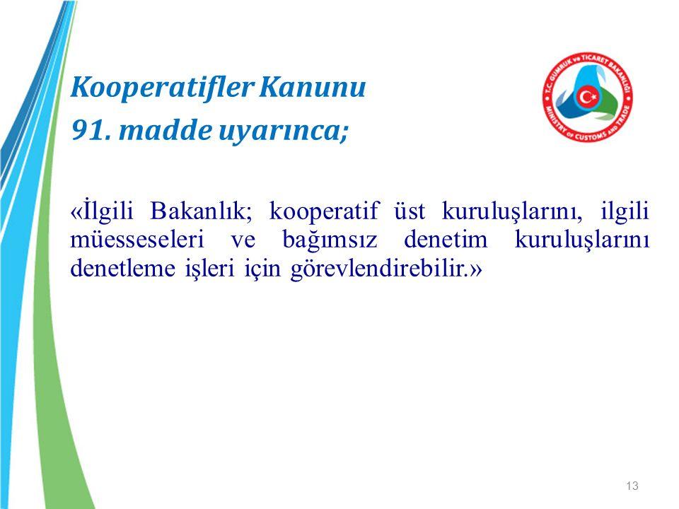 Kooperatifler Kanunu 91. madde uyarınca;