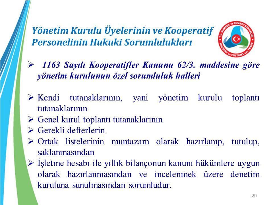 Yönetim Kurulu Üyelerinin ve Kooperatif