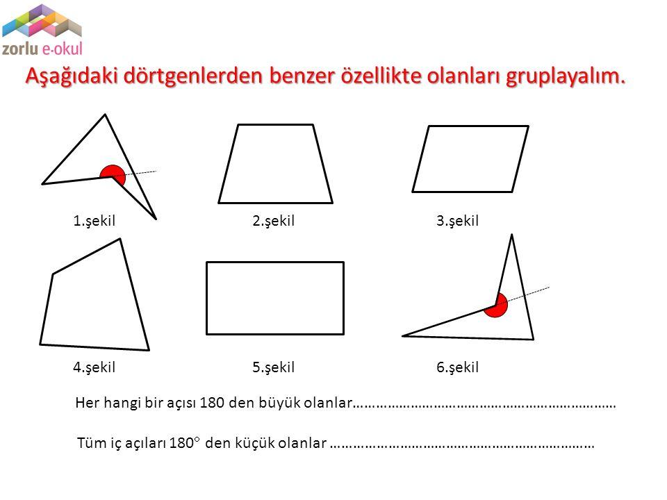 Aşağıdaki dörtgenlerden benzer özellikte olanları gruplayalım.