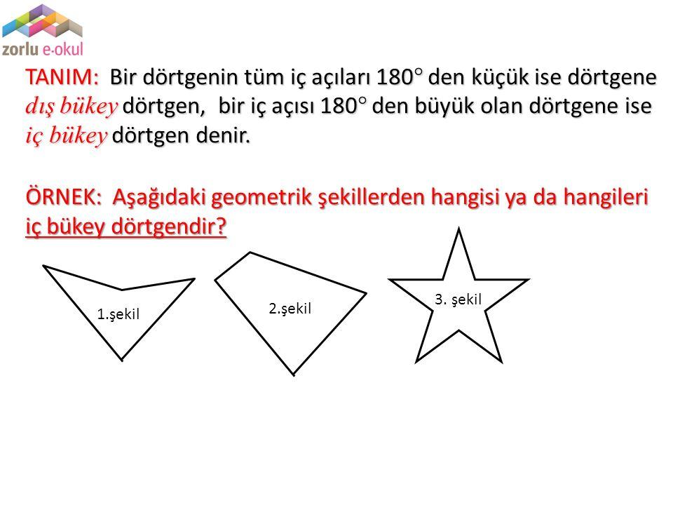 TANIM: Bir dörtgenin tüm iç açıları 180 den küçük ise dörtgene