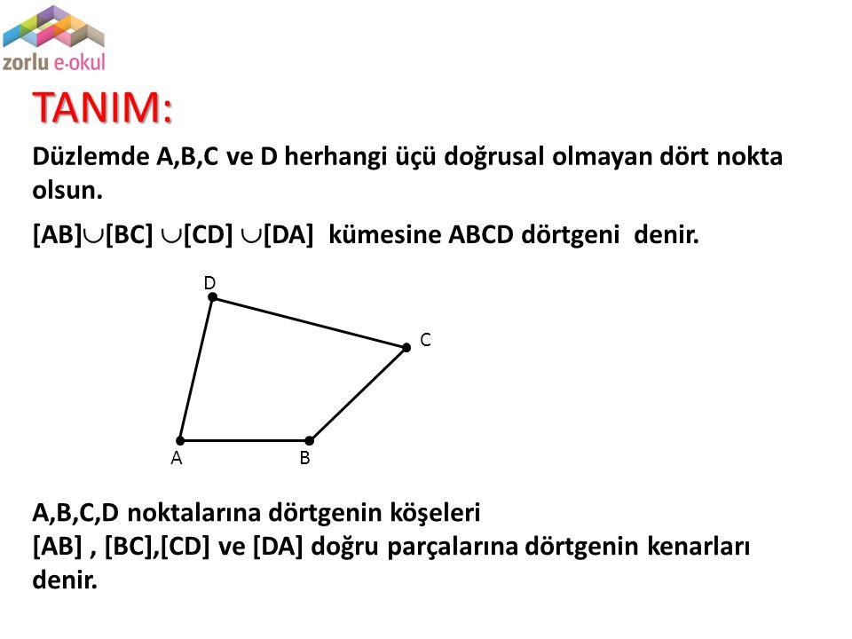 TANIM: Düzlemde A,B,C ve D herhangi üçü doğrusal olmayan dört nokta