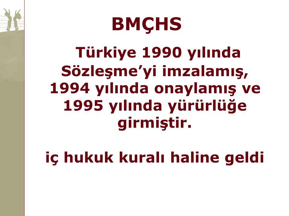 BMÇHS Türkiye 1990 yılında Sözleşme'yi imzalamış, 1994 yılında onaylamış ve 1995 yılında yürürlüğe girmiştir. iç hukuk kuralı haline geldi.