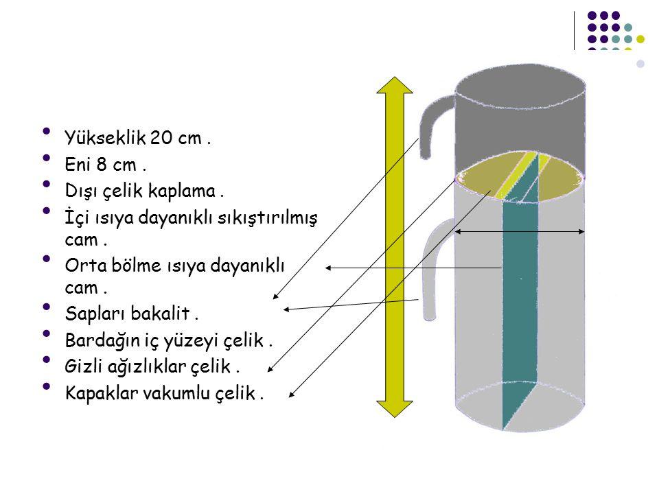Yükseklik 20 cm . Eni 8 cm . Dışı çelik kaplama . İçi ısıya dayanıklı sıkıştırılmış cam . Orta bölme ısıya dayanıklı cam .