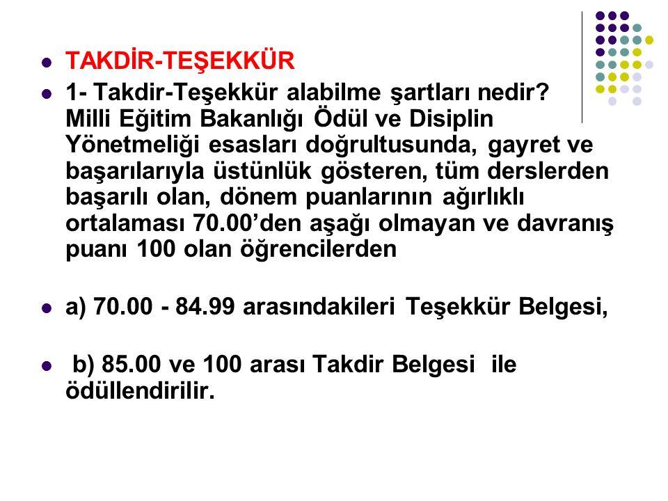TAKDİR-TEŞEKKÜR
