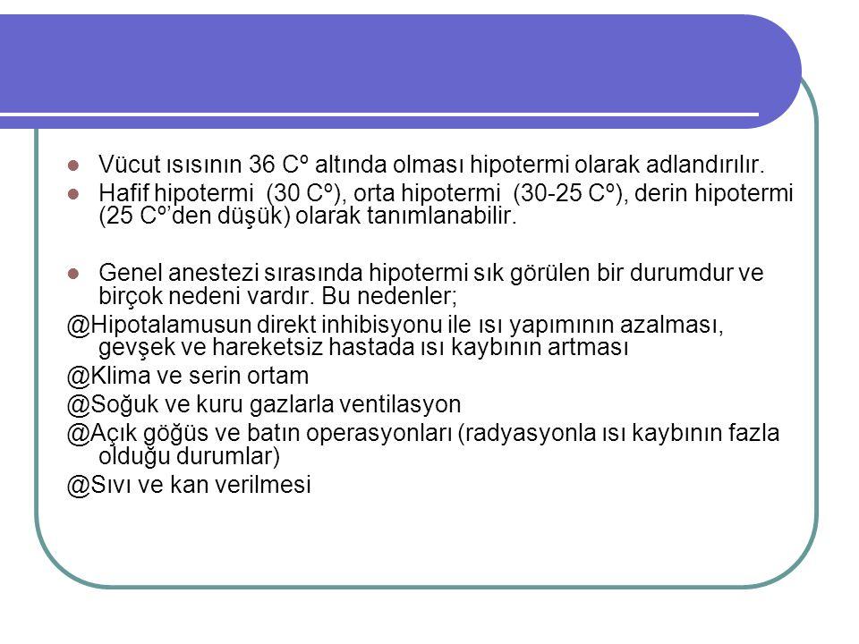 Vücut ısısının 36 Cº altında olması hipotermi olarak adlandırılır.