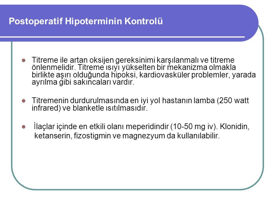Postoperatif Hipoterminin Kontrolü