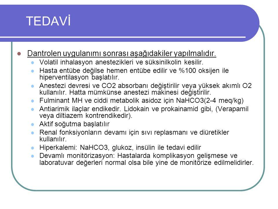 TEDAVİ Dantrolen uygulanımı sonrası aşağıdakiler yapılmalıdır.