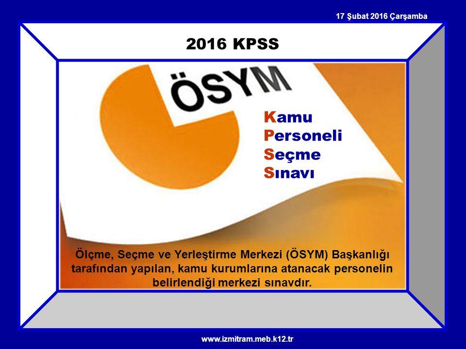 2016 KPSS Kamu Personeli Seçme Sınavı