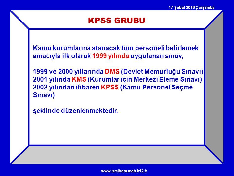 27 Nisan 2017 Perşembe KPSS GRUBU. Kamu kurumlarına atanacak tüm personeli belirlemek amacıyla ilk olarak 1999 yılında uygulanan sınav,