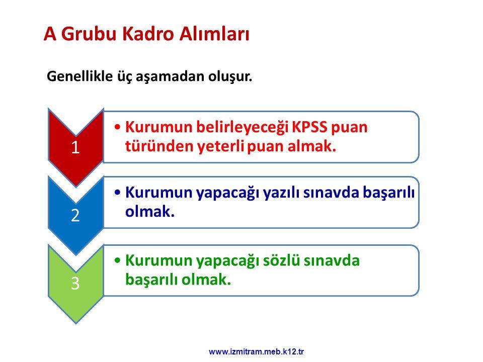 A Grubu Kadro Alımları Genellikle üç aşamadan oluşur. 1. Kurumun belirleyeceği KPSS puan türünden yeterli puan almak.