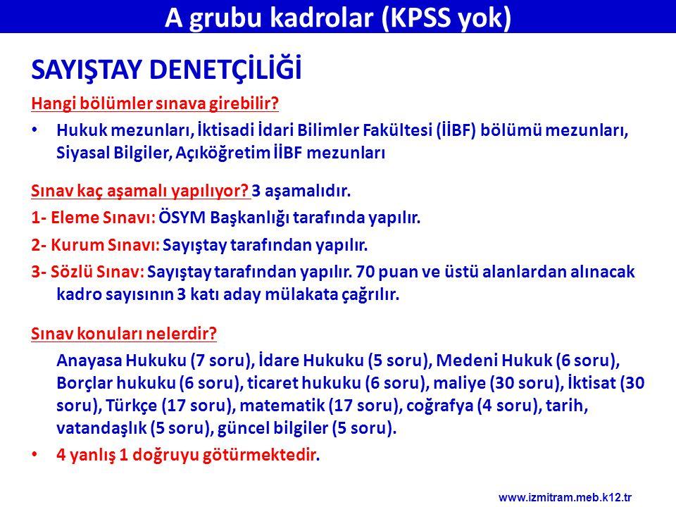 A grubu kadrolar (KPSS yok)