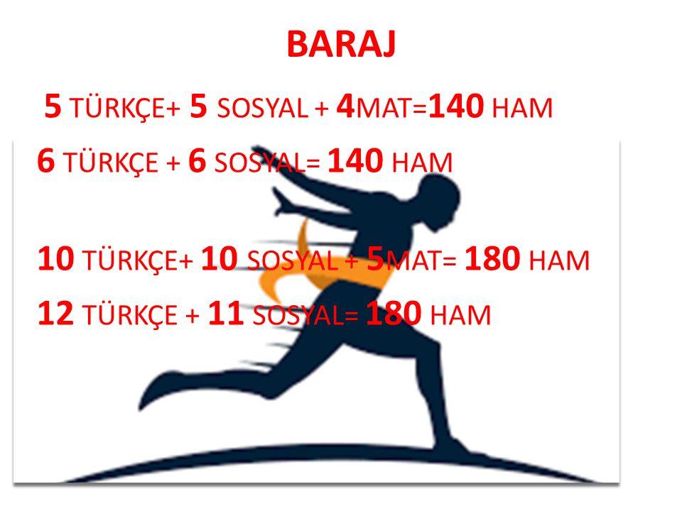 BARAJ 6 TÜRKÇE + 6 SOSYAL= 140 HAM