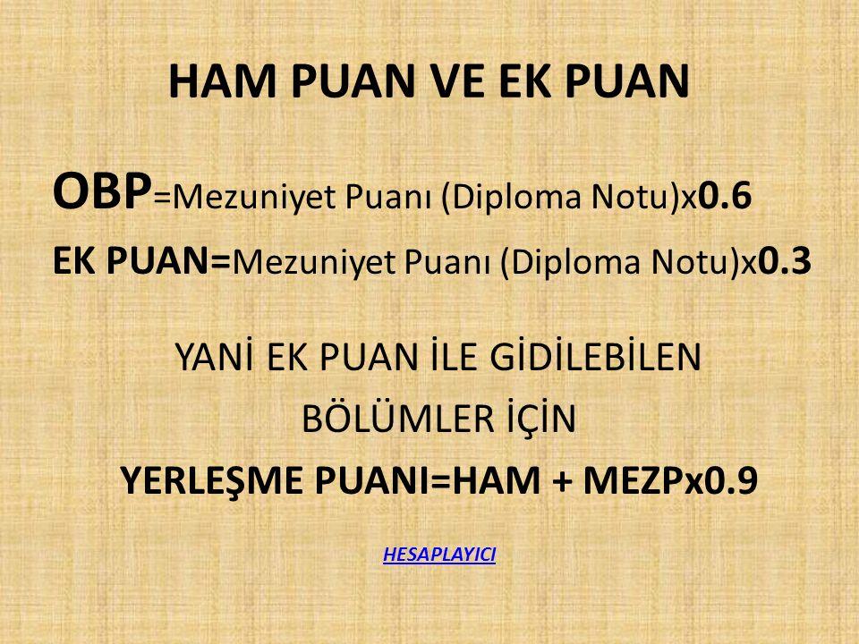 YERLEŞME PUANI=HAM + MEZPx0.9
