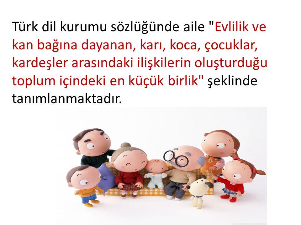 Türk dil kurumu sözlüğünde aile Evlilik ve kan bağına dayanan, karı, koca, çocuklar, kardeşler arasındaki ilişkilerin oluşturduğu toplum içindeki en küçük birlik şeklinde tanımlanmaktadır.