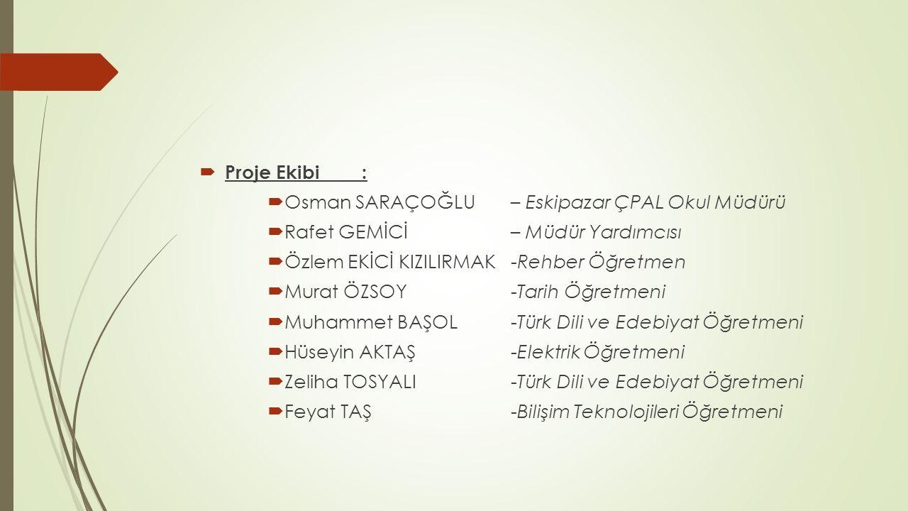 Proje Ekibi : Osman SARAÇOĞLU – Eskipazar ÇPAL Okul Müdürü. Rafet GEMİCİ – Müdür Yardımcısı.