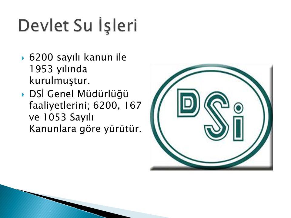 Devlet Su İşleri 6200 sayılı kanun ile 1953 yılında kurulmuştur.