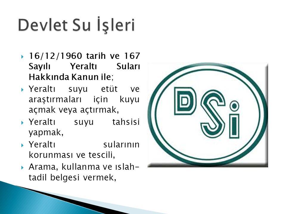 Devlet Su İşleri 16/12/1960 tarih ve 167 Sayılı Yeraltı Suları Hakkında Kanun ile;