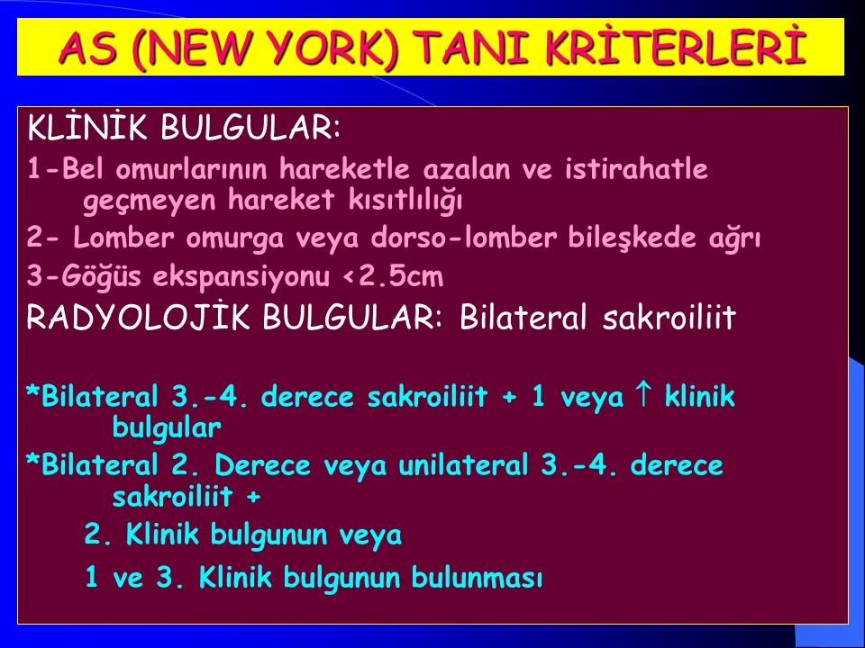 AS (NEW YORK) TANI KRİTERLERİ