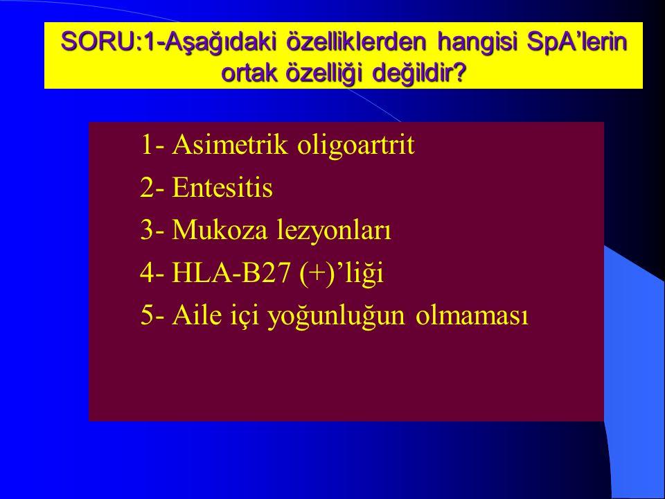 1- Asimetrik oligoartrit 2- Entesitis 3- Mukoza lezyonları