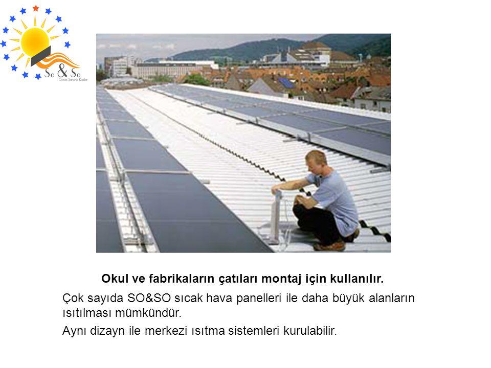 Okul ve fabrikaların çatıları montaj için kullanılır.