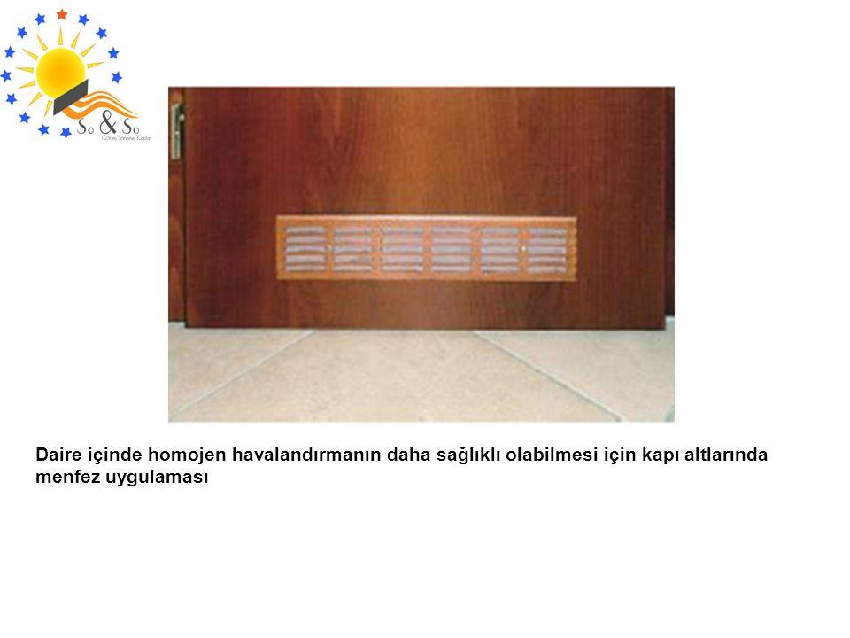Daire içinde homojen havalandırmanın daha sağlıklı olabilmesi için kapı altlarında menfez uygulaması