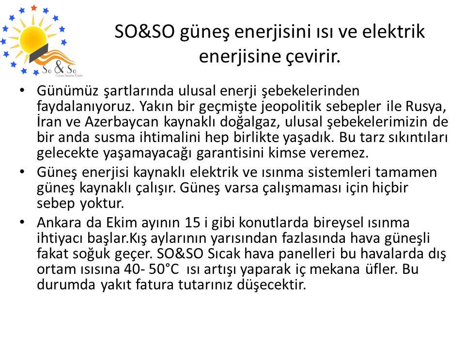 SO&SO güneş enerjisini ısı ve elektrik enerjisine çevirir.