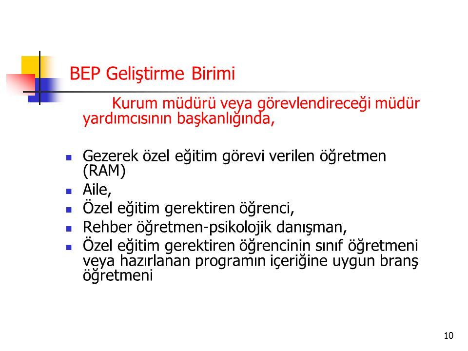 BEP Geliştirme Birimi Kurum müdürü veya görevlendireceği müdür yardımcısının başkanlığında,