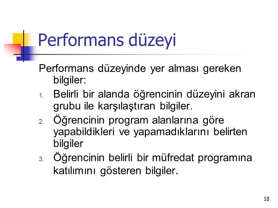 Performans düzeyi Performans düzeyinde yer alması gereken bilgiler: