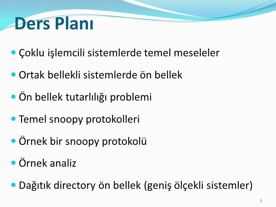 Ders Planı Çoklu işlemcili sistemlerde temel meseleler