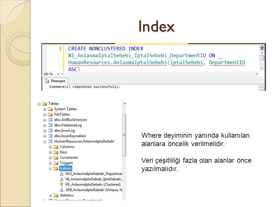 Index Where deyiminin yanında kullanılan alanlara öncelik verilmelidir.