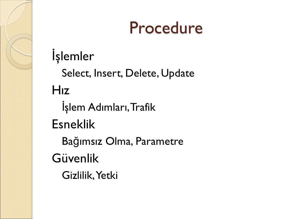 Procedure İşlemler Hız Esneklik Güvenlik