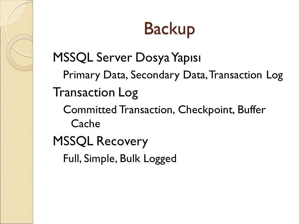 Backup MSSQL Server Dosya Yapısı Transaction Log MSSQL Recovery