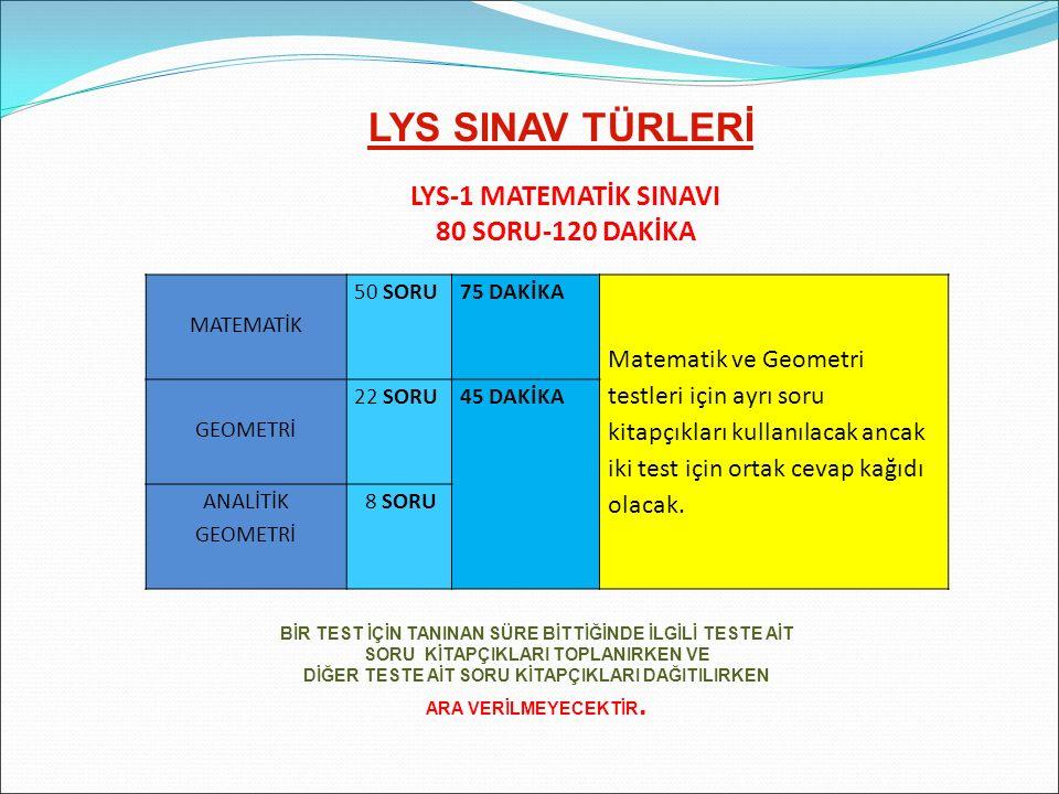 LYS SINAV TÜRLERİ LYS-1 MATEMATİK SINAVI 80 SORU-120 DAKİKA