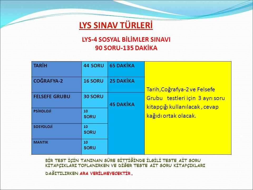 LYS-4 SOSYAL BİLİMLER SINAVI